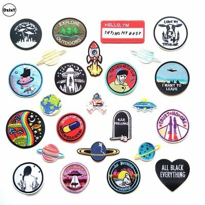 1 PCS UFO Alien Parches Embroidery Iron on Patches for Clothing DIY Stripes Clot