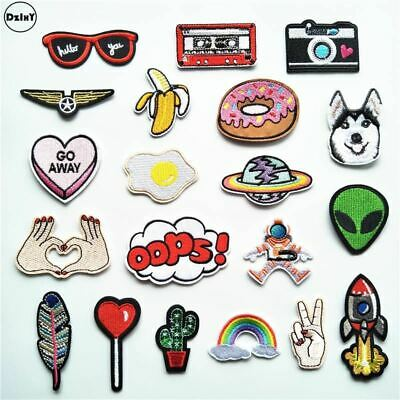Animals Parches Embroidery Iron on Patches for Clothing DIY Foods Stripes Clothe