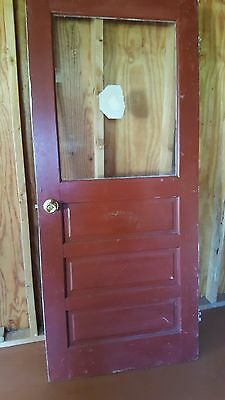 "Antique Vintage Solid Wood Door w/ Window Measures 73.5""tall X 32"" wide, 1 3/8"
