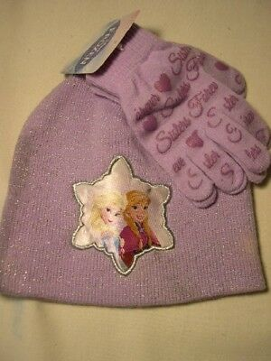 Disney Frozen *sisters Forever * Kids One Size    Stocking Cap / Gloves  Set