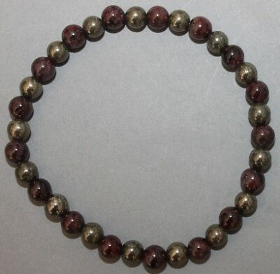 "Bracelet Pyrite et Grenat 6 mm ""Large"""
