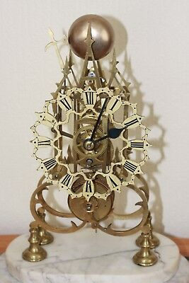 Antique Skeleton Fusee Clock Circulation 1890 Era , Vgc,18Ins High By 11Ins Wide
