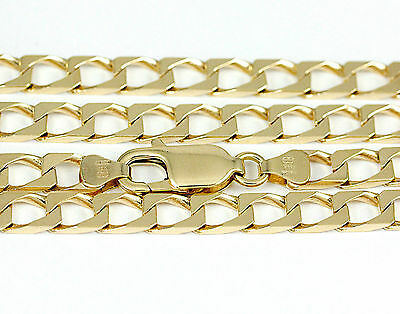 "16-24"" 5.0mm 10k Yellow Gold Squared Link Chain (NEW solid Italian necklace)2439"