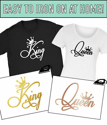 King Queen Iron On T Shirt Transfer His Hers Couples Set Bride Wedding Vinyl