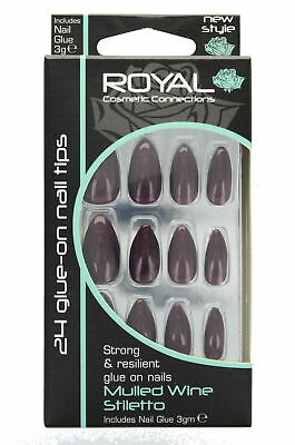 Royal 24 Glue-On Strong & Resilient Nail Tips-Mulled Wine Stiletto