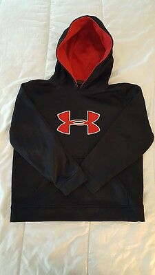 Boy s Under Armour Hoodie Sweatshirt Black with Red Emblem Youth Large L GUC 6316b39c0
