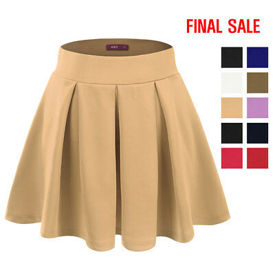 [FINAL SALE]Doublju Womens Elastic Waist Band Flared Mini Skater Skirt