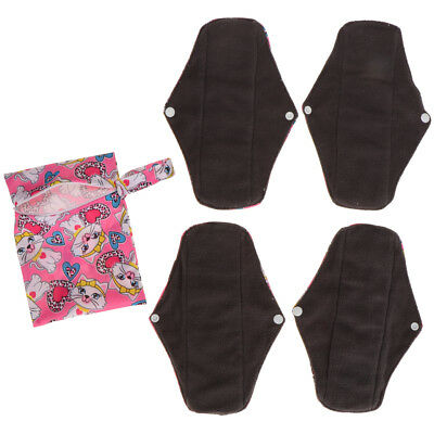 4 Pieces Female Reusable Charcoal Bamboo Panty Liner Menstrual Pads Bag