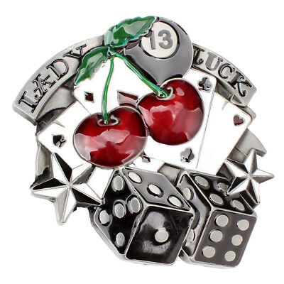 3c7eb6cf6 Women Men Lady Luck Vegas Poker Cards Dice Cherry Gamble Western Belt Buckle