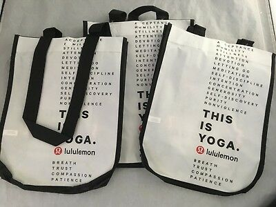 Lot Of 3 Lululemon Reusable Tote Bag Small White This Is Yoga Gym Ping