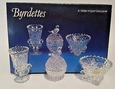 Lead crystal miniature set, vases and trinket with bird decoration, 3 pieces