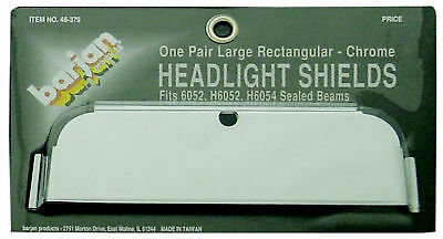 Barjan 048379 Pair Of Large Rectangular Chrome Headlight Shields For 6052, H6...