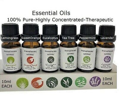 Essential Oils - Set of 6 Highly Concentrated 10ml, Therapeutic Pure Oils