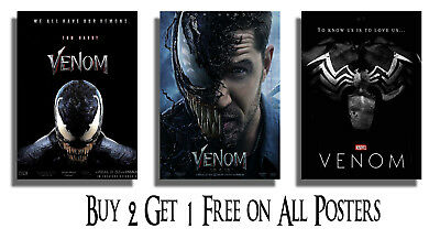 Venom Movie Poster Print Wall Art A5 A4 A3 A2 Tom Hardy Marvel Comics Films Geek