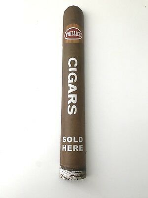 "Rare 18"" PHILLIES CIGARS SOLD HERE Display Cigar Shaped Sign Wall Advertisement"