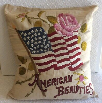 Wonderful Antique Patriotic Folk Art Embroidery Roses American Flag Pillow
