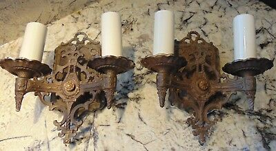 Vintage Pair 1920's Cast Iron Two Arm Sconce Gothic Arts Crafts Spanish Revival