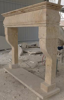 REAL Hand Carved Mantel Fireplace, Travertine Mantle, Marble and Limestone
