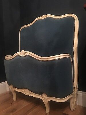Pair Antique French single beds Blue velvet upholstery