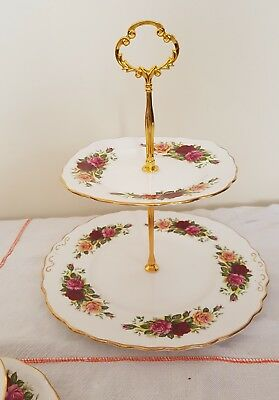 Vintage Royal Vale Bone China Red Pink And Yellow Roses 2 Tier  Cake Stand