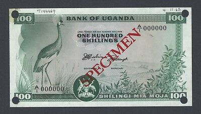 Uganda 100 Shillings ND(1966) P4s Specimen About Uncirculated