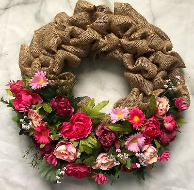 Orchid Spring Summer Wreath Front Door Floral Tropical Silk Flowers