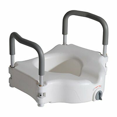 HOMCOM Raised Elevated Toilet Seat with Lock and Padded Arms Removable White wi
