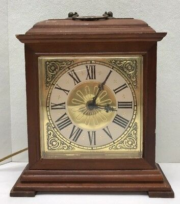 Vintage Spartus Wooden Electric Mantle Or Wall Clock Gold - Works - Made USA