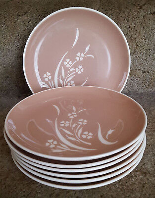 7 Harkerware Springtime Floral Tan And Cream Cameo Ware 7.25 Bread Plates Usa