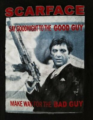Scarface Say Goodnight To The Bad Guy Double Sided Adult T Shirt