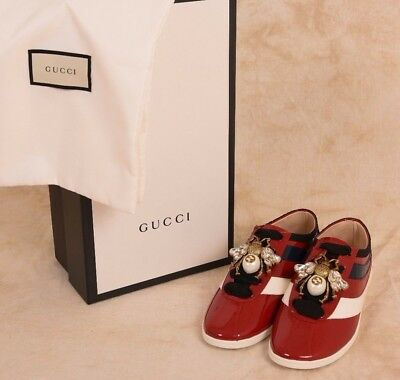 e6db3d96d77 AUTHENTIC GUCCI FALACER Red Patent Leather Sneaker with Web Size 8 ...