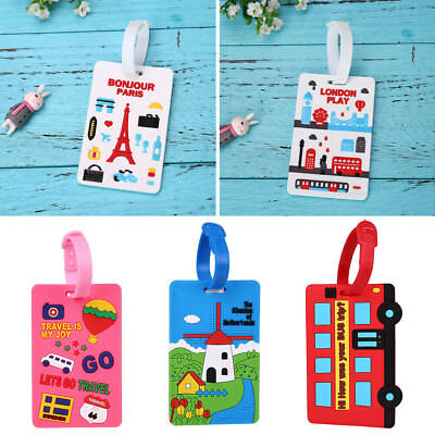 UK Plastic Luggage Tags Suitcase Label Name Address ID Baggage Bag Tag Travel