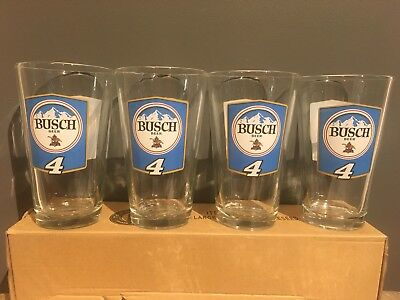 BUSCH BEER Racing Kevin Harvick 16 oz Pint Glass ~ Set of  (4) Glasses NEW