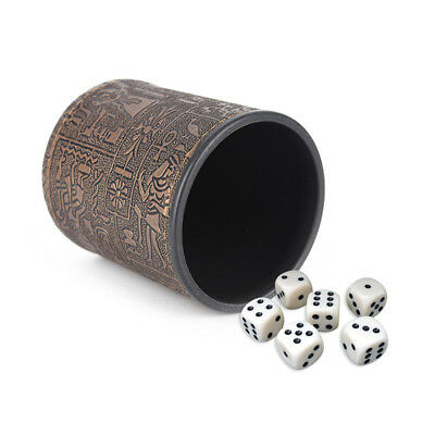Egyptian Pattern Leather Plastic Straight Dice Cup For Poker Gambling Box Game