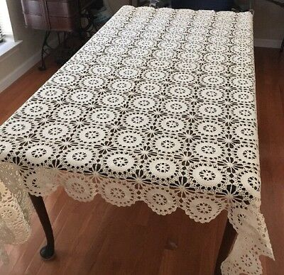 Vtg Antique Crochet Hand Made Cotton Ivory Beige Tablecloth / Bed Coverlet 70x75