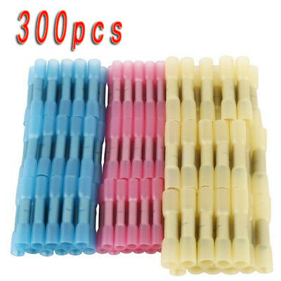 300Pcs 3m Heat Shrink Insulated Butt Crimp Wire Connector Terminals Assortment