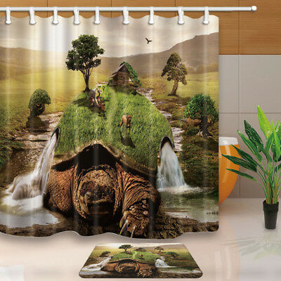 Waterfall Dog Tree on a Giant Sea Turtle Waterproof Fabric Shower Curtain & Hook