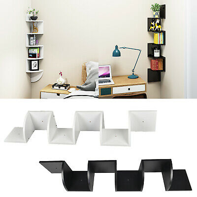 5 Tiers Corner Shelf Floating Wall Shelves Storage Display Books Home Decoration