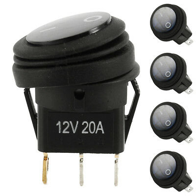 5X 12V 20A Waterproof Round Toggle On/Off Rocker Switch Car Auto Boat SPST