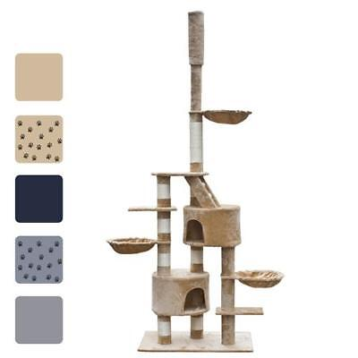 "Cuddles XL 90"" - 102"" Cat Tree Scratching Post Gray/Beige/Blue w/o Paw Prints"