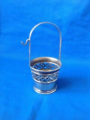 Vintage Or Antique Silver Plated Table Basket With Hook