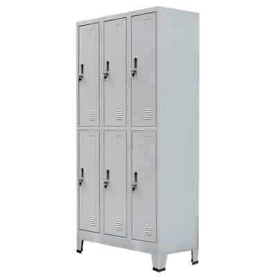 vidaXL Locker Cabinet w/6 Compartment Office Gym Sports Changing Container