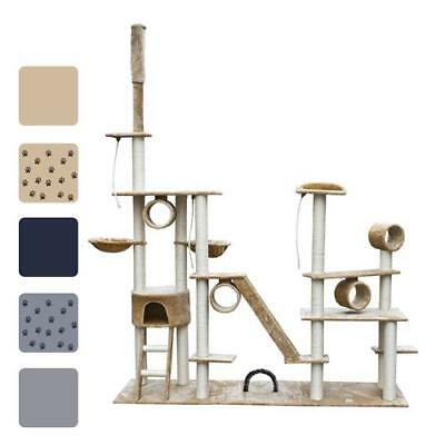 "Deluxe 90""-102"" Cat Tree Scratching Post Furniture Gray/Beige/Blue w/o Paw Print"