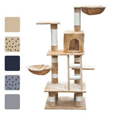 "48"" Cat Tree Scratching Post Furniture Play House Gray/Beige/Blue w/o Paw Prints"