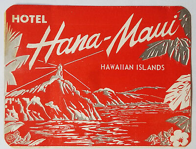 UNUSED ORIGINAL Vintage Travel LUGGAGE LABEL Hotel Hana Maui HAWAII ISLAND