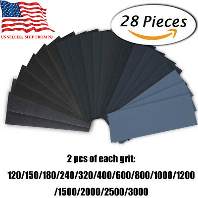 28 Pieces 9 x 3.6 Wet Dry Sandpaper 120 to 3000 Grit Assortment Sanding Polish