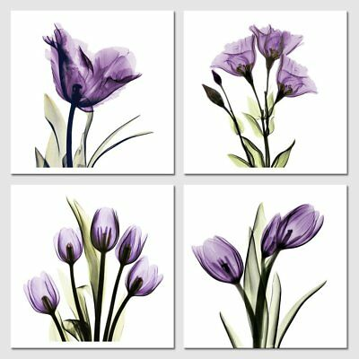 Canvas Wall Art Prints Painting Pictures Home Office Room Decor Purple Flowers