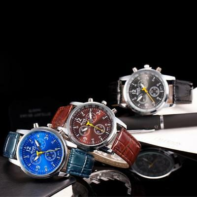 Luxury Fashion Mens Stainless Steel Case Analog Wrist Watches Leather Band Watch