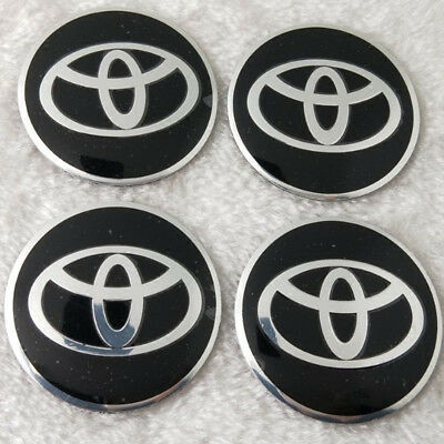 4 x 56mm Car Wheel Center Hub Caps Trim Stickers Emblem Styling For TOYOTA Blk-1