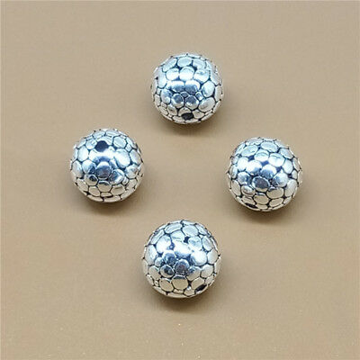 4 Sterling Silver Cobbled Type Round Ball Beads 925 Silver 10mm